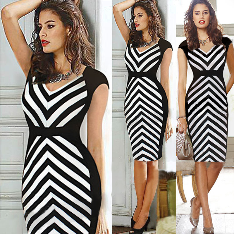 2014 Autumn Striped Dress Women V Neck Knee Length Black And White  Patchwork Office Dresses Pencil Casual Party Woman Clothes 43528592403b