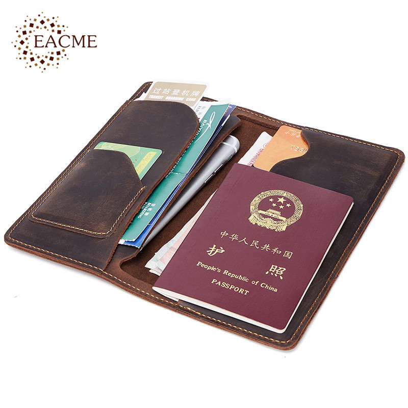 b6178327890b EACME Leather Long Wallet Passport Cover Business Men Cowhide Travel ...