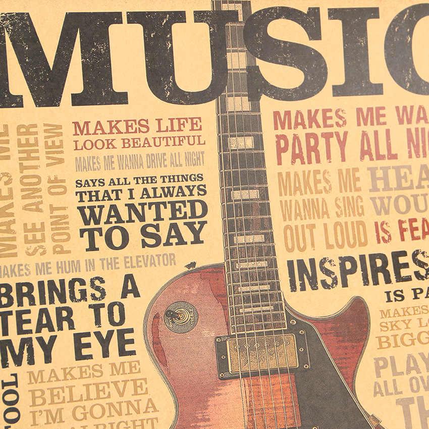 TIE LER 음악 기타 스타일 포스터 클래식 향수 빈티지 크래프트 종이 포스터 침실 거실 벽 스티커