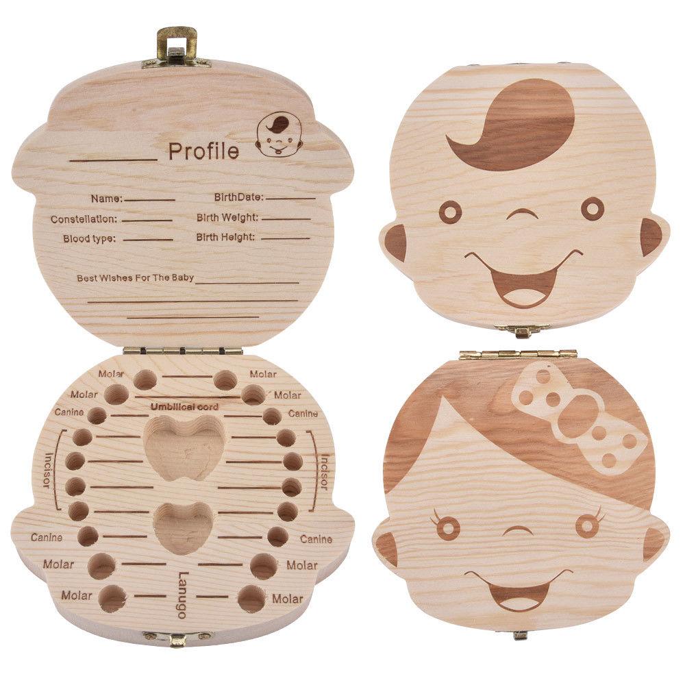 Baby Wooden Tooth Storage Box English Spanish German French Kids Milk Teeth Box Keep Organizer Children Keepsakes Gift Memory