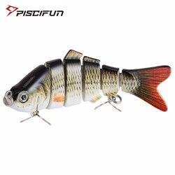 Рыболовная приманка Piscifun, 10 см, 20 г, 3D глаза, 6 секций, Реалистичная жесткая приманка, воблеры, тонущие, 2 крючка, рыболовные приманки