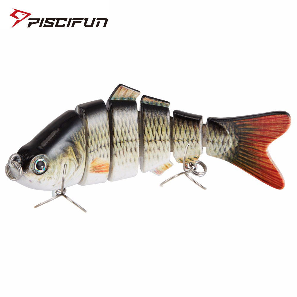Piscifun Fishing Lure 10cm 20g 3D Eyes 6 Segment Lifelike Hard Lure Crankbait Sinking Wobblers 2 Hook Fishing Baits Pesca Cebo