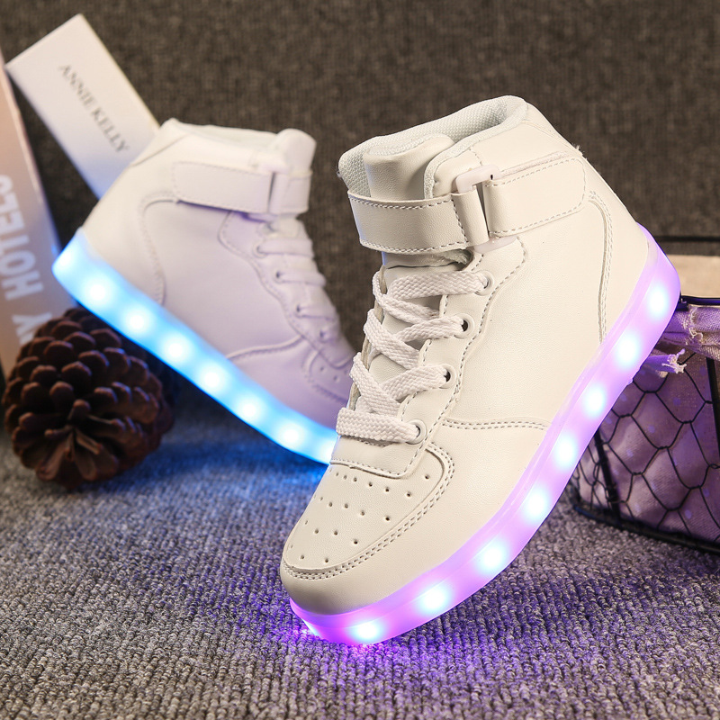 High top Glowing Sneakers Kids Light Up Shoes for Children