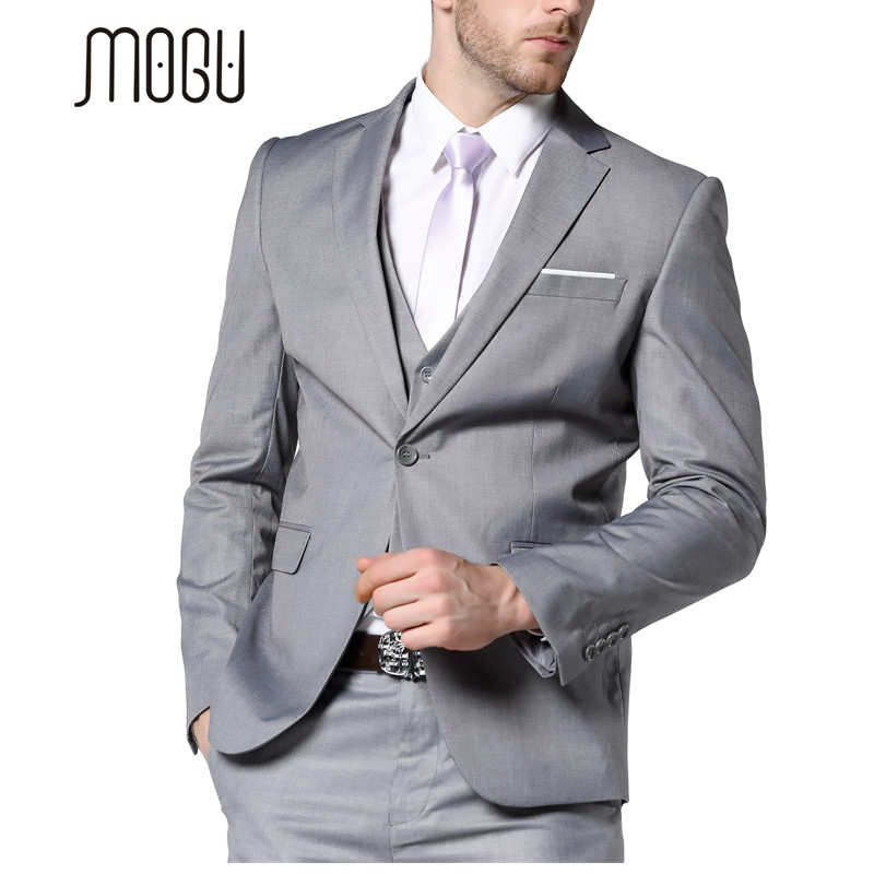 MOGU 2017 New Mens Fashion Suit Light Gray Slim Fit Wedding Suits For Men High Quality Bussiness Suits Mens Light Gray Suit