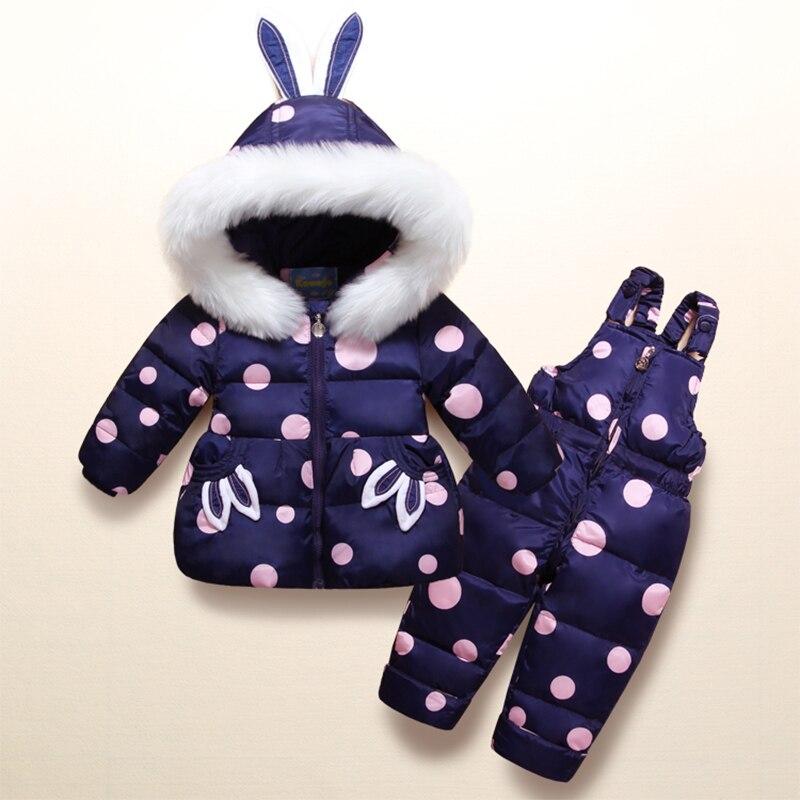 Cute Rabbit Kids Snowsuit White Duck Down Children Skiing Suits Polka Dot Down Jacket+Jumpsuits Baby Girls Winter Coat Outwear rabbit print polka dot tie back dress