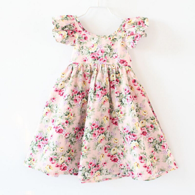 summer style of girls clothes dress girls vintage floral baby girls dress  cotton baby girls clothes suits for 2-6T 449666bae5a0