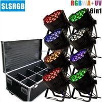 8PCS/LOT par led 18x18w Zoom Light RGBWA UV 6IN1 DMX Par Can DJ Uplighting Up Light Black Color Aluminum
