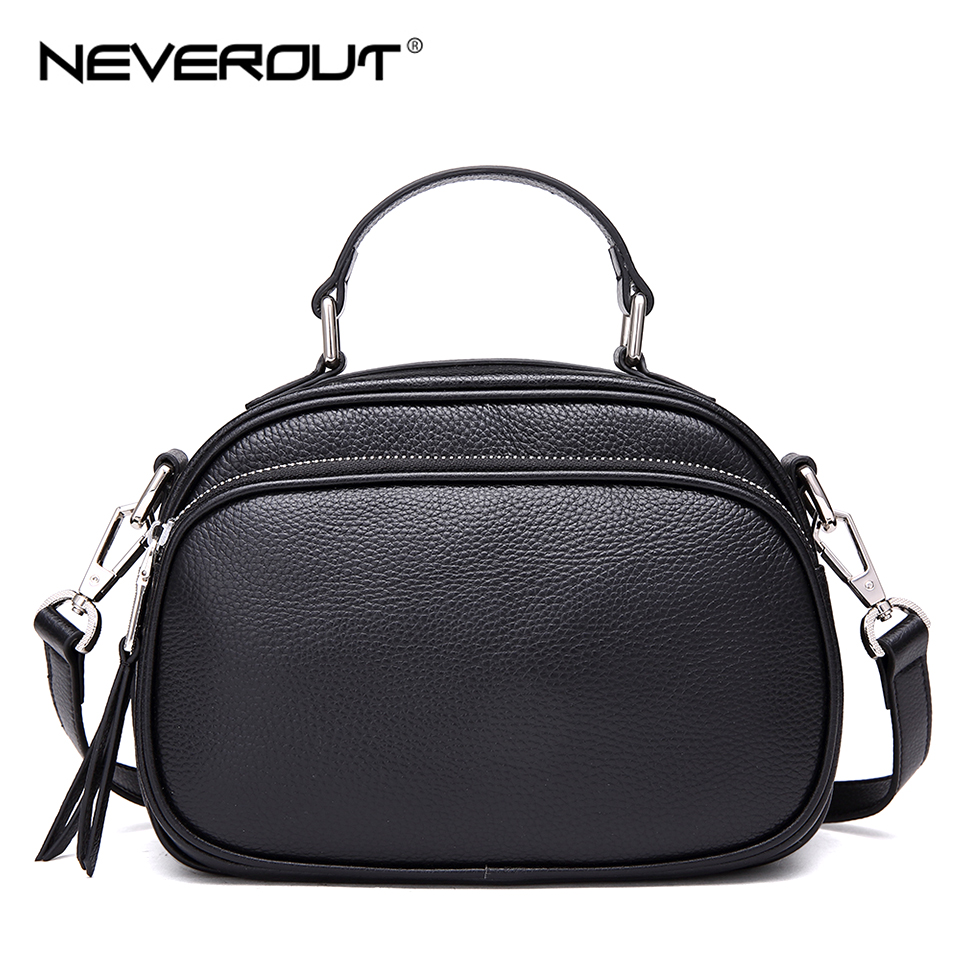 NEVEROUT Women High Quality Genuine Leather Bags Small Messenger Handbag Solid Shoulder Sac Summer Zipper Flap Bags Handbags