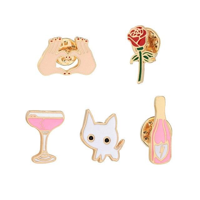 3 ~ 7 sztuk/zestaw moda emaliowana broszka zwierząt ptak śliczne Mini kot rośliny kaktus Rose Flower lampka do wina gest broszki dla kobiet
