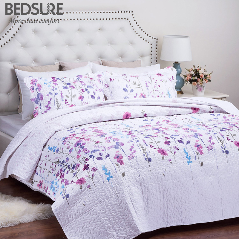 Bedsure Lilac Flower Bedclothes Printed Quilt Bedspread Bed Sheet Comfortable Lightweight Bed Linen Bed Set ...