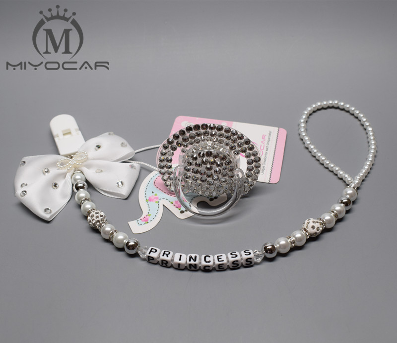 MIYOCAR all name hand made bling crystal rhinestone princess Baby Pacifier/ Nipples /Dummy /cocka /chupeta &pacifier clips