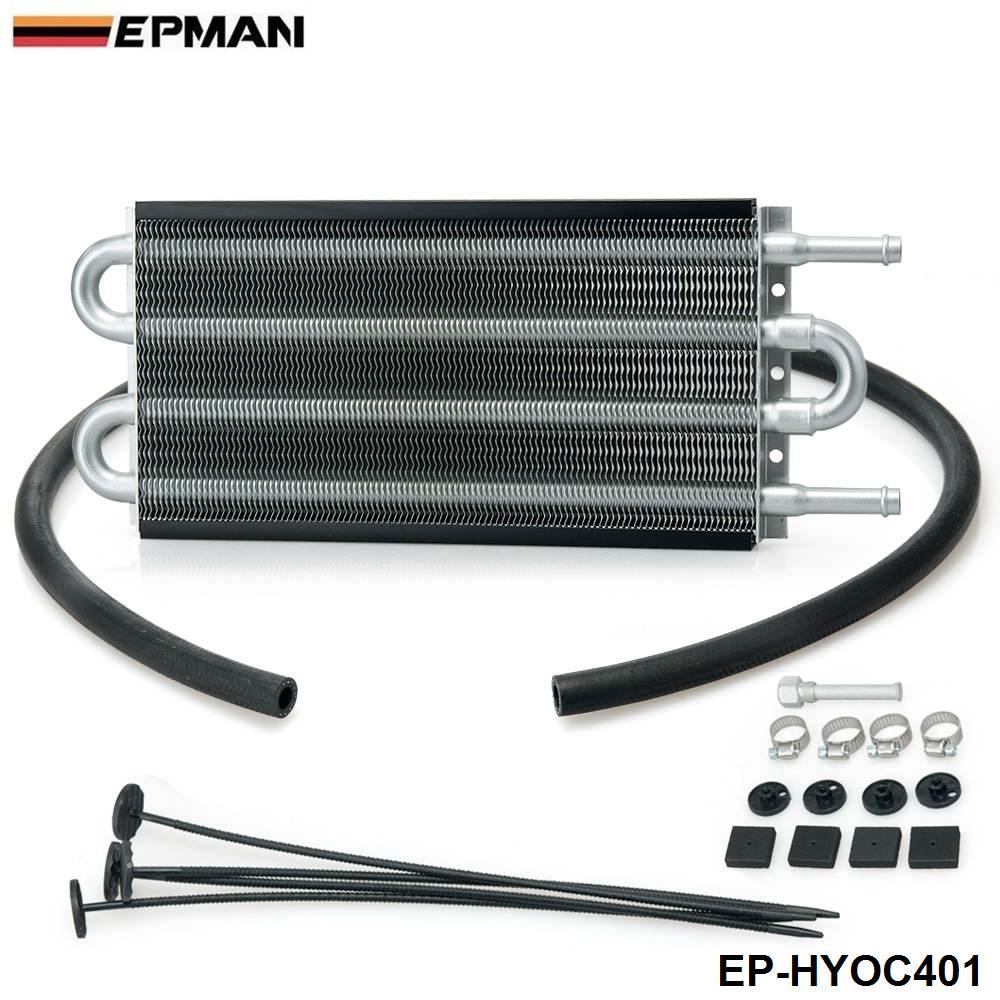 4 Row Black Aluminum Remote Transmission Oil Cooler/Auto-Manual Radiator  Converter Kit OC-1401 2,500 lbs EP-HYOC401