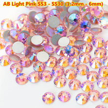 1440pcs/bag Light rose AB Pink Flat Back Non Hot fix Rhinestone Nail Art crystals Swarovsky hot DIY 3d Decorations