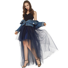 High Waist Woman Tulle Skirt New Fashion Long Black Tutu Skirt Ball Gown For Wedding Woman Saias faldas mujer moda 2019(China)