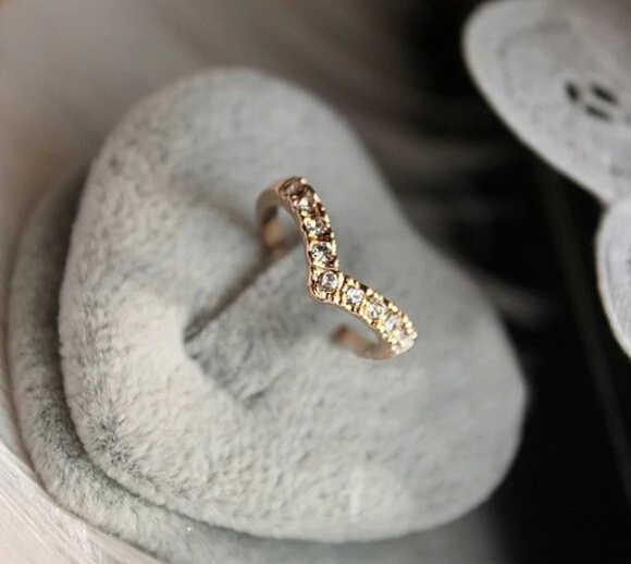 jz07  Fashion New Arrival Hot Sale Bronze Rhinestone Heart-shaped Love Double Rings