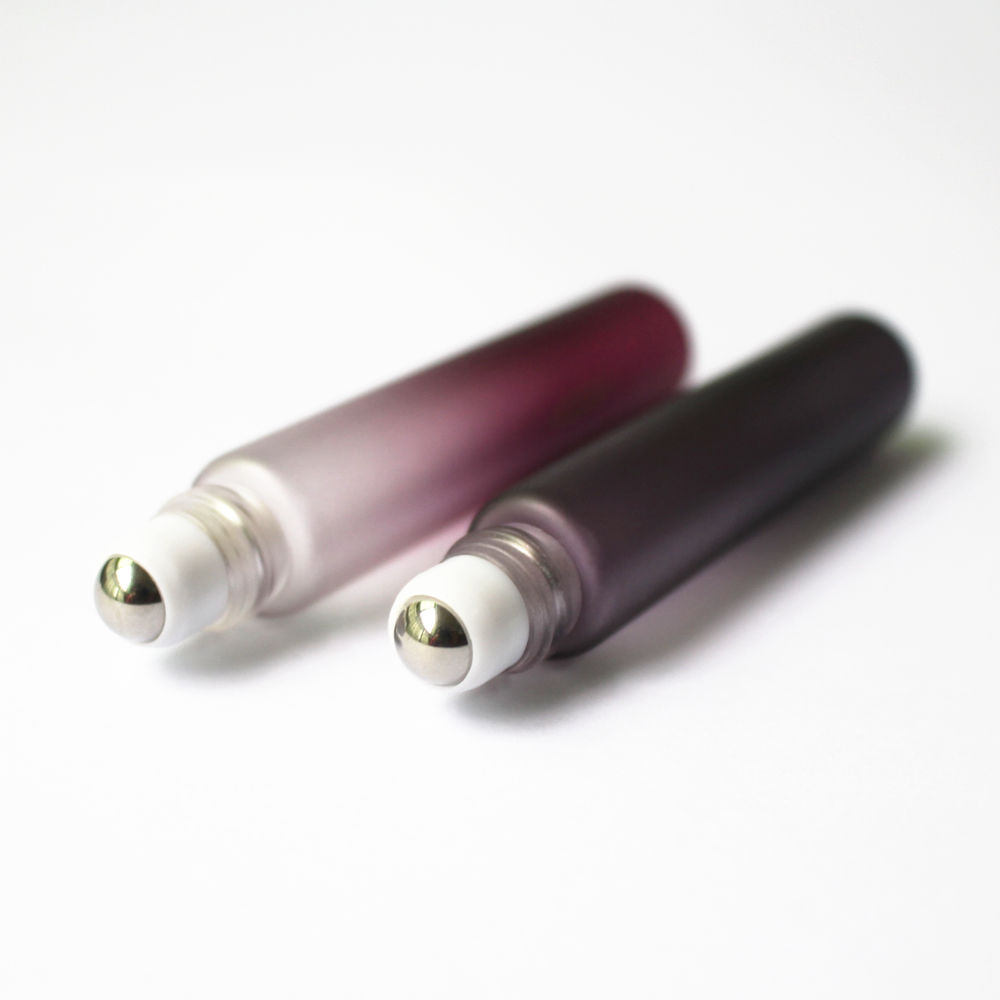 100pcs/lot Black / Purple Color 10ml Glass Roll on Bottle with Stainless Steel/Glass Ball 10cc Perfume Essential Oil Bottle