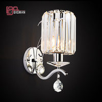New Design Crystal Wall Sconce Modern Wall Lights Lustre Iluminacion Interior Bedroom Beside Lamp
