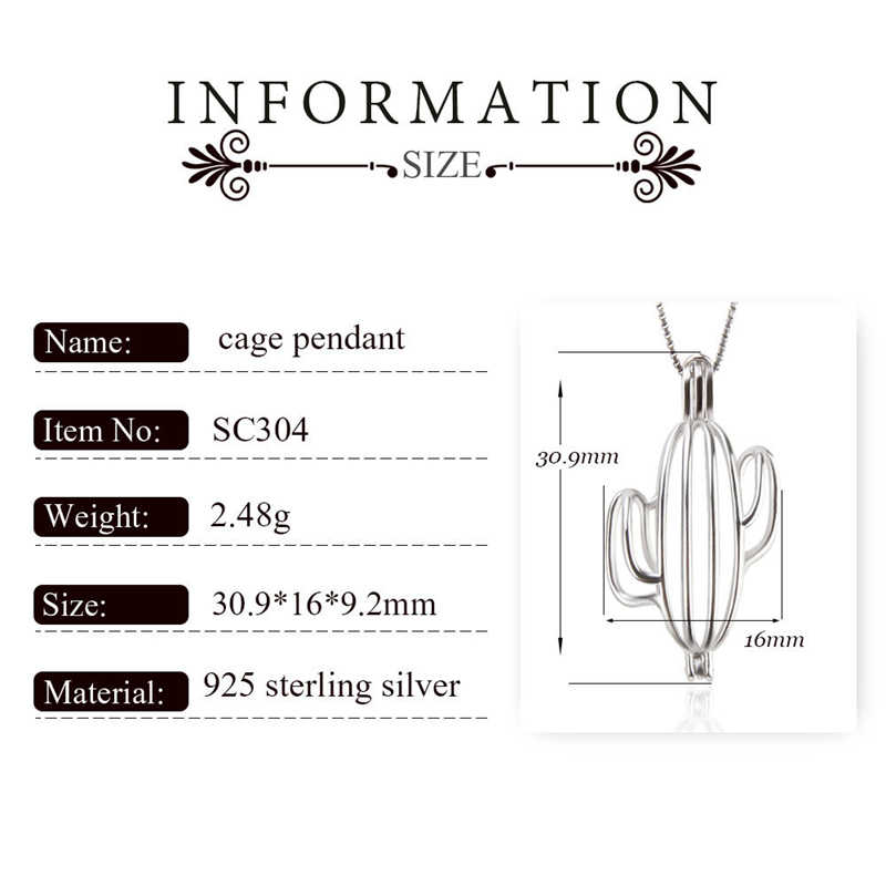 CLUCI Silver 925 Cactus Shaped Pearl Pendant Locket for Women Necklace Making 925 Sterling Silver Cactus Charms Pendant
