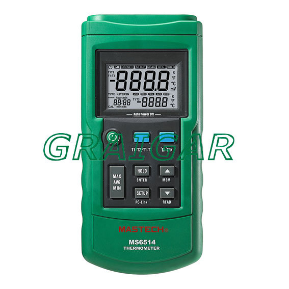 MASTECH MS6514 Dual Channel Digital Thermometer Tester USB Interface mastech ms6514 dual channel digital thermometer temperature logger tester usb interface 1000 set data k j t e r s n thermocouple