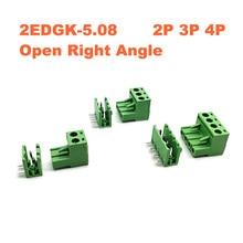 Pitch 5.08mm 2P 3P 4P Screw Plug-in PCB Terminal Block 2EDGK 2EDGR Open Right Angle Pin male/female Pluggable bornier Connector стоимость
