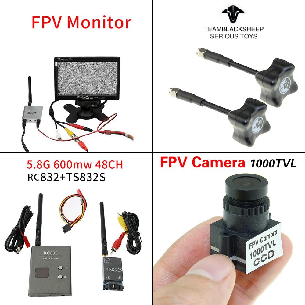 FPV Kit Combo 1000TVL Camera TBS Blacksheep Antenna 5 8Ghz 600mw 48CH TS832S RC832 7 inch
