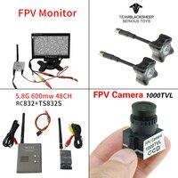 Комплект Азм комбо 1000TVL Камера + TBS антенна черного цвета + 5,8 Ghz 600 mw 48CH TS832S RC832 + 7 дюймов ЖК-дисплей монитор для FPV Drone