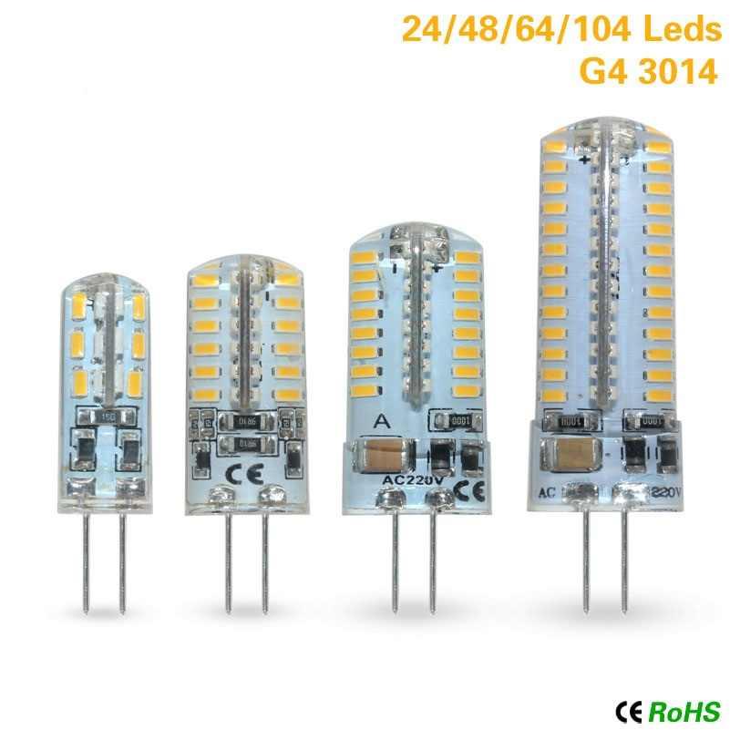 G4 led 3W 5W 6W 8W 12W cob led 12v SMD 3014 bombilla AC 220V G4 bombilla led para lámparas de araña de cristal reemplazar 30w lámpara halógena