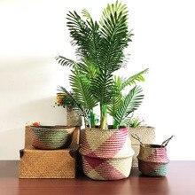 WCIC Rattan Flower Basket Vase Nursery Pot Storage Basket Straw Toys Organizer Seagrass Flower Pot Planters Wicker Garden Pots