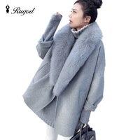 Eleganckie Kobiety Zimowe Płaszcze Z Wełny Futro Kołnierz Plus Rozmiar Szary Ciepłe Loose Wełniany Płaszcz Moda Zagęścić Długie Kurtki casaco feminino