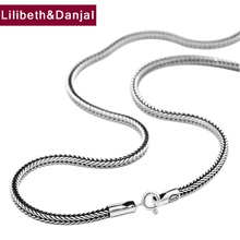 2mm 3mm Thick Initial Couple Necklace 100% 925 Sterling Silver Men Women Foxtail chain fashion Necklace Pendant Jewelry 2019 N20