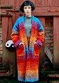 AIGYPTOS-YANGER] Outono Inverno Das Mulheres Do Vintage Tendência Nacional do Desenho Original Novetly Gradiente Multicor Grosso Casaco Longo de Lã