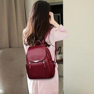 Image 2 - 2019 Women Leather Backpacks Female Shoulder Bag Sac A Dos Ladies Bagpack Vintage School Bags For Girls Travel Back Pack New