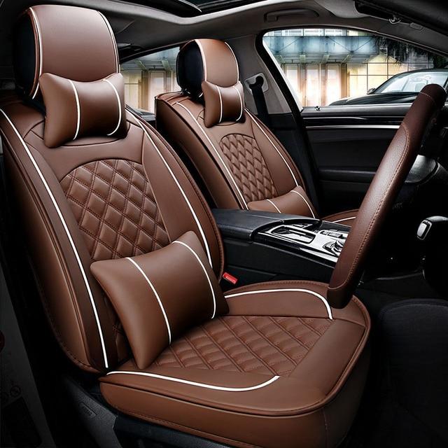 Universal Car Seat Covers Leather Auto For Buik LeSabre Rendezvous Rainier Lucerne Enclave Brilliance H530
