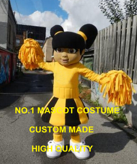 Yellow Dress Cutie Cheer Leader Mascot Costume custommizable Cartoon little girl Theme Anime Costume Costumes 2422
