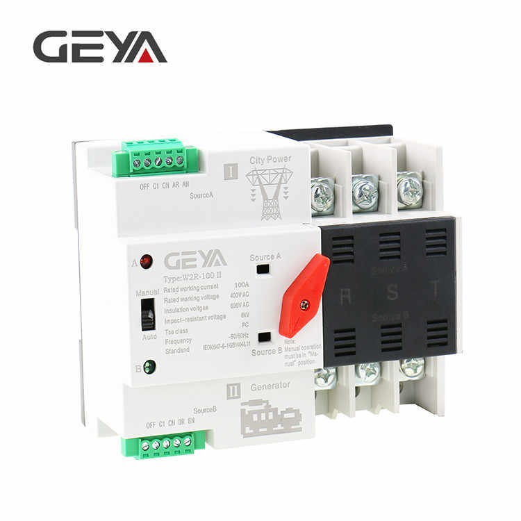 Free Shipping GEYA W2R-3P Din Rail Mounted Automatic Transfer Switch Three  Phase ATS 100A Power Transfer Switch