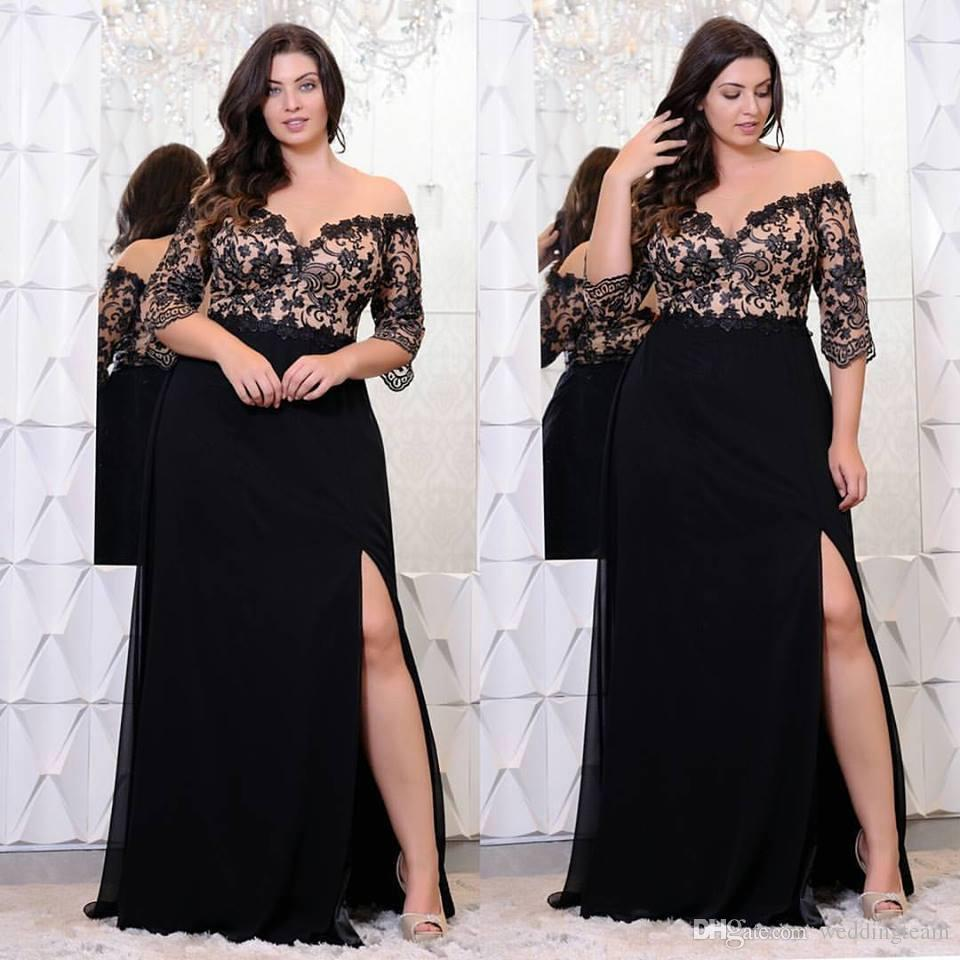 Rosegal Plus Size Lace Applique Floor Length Dress Women Elegant Off The Shoulder 3/4 Sleeves A-Line Dress Vestido Party Dresses