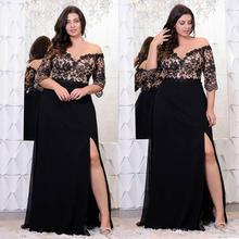 Rosegal Plus Size Lace Applique Floor Length Dress Women Elegant Off The Shoulder 3/4 Sleeves A-Line Dress Vestido Party Dresses
