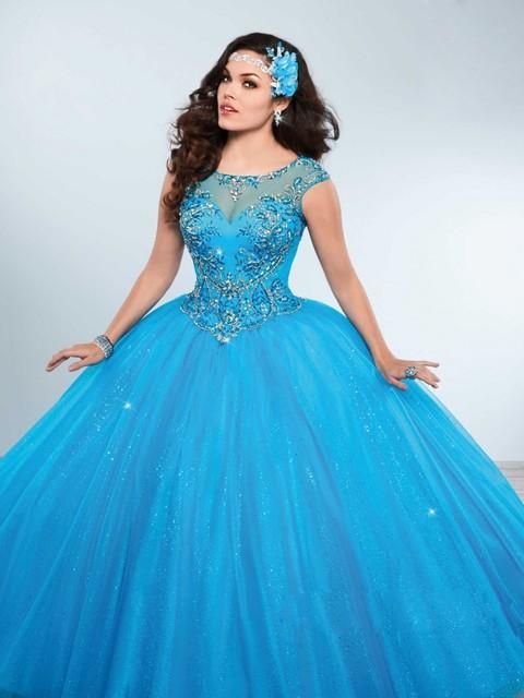 Azul 2017 del vestido de Bola Vestidos de Quinceañera Cap Mangas Con Cuentas de Diamantes de Imitación scoop sweet 16 vestidos de 15 años vestidos de 15 Anos