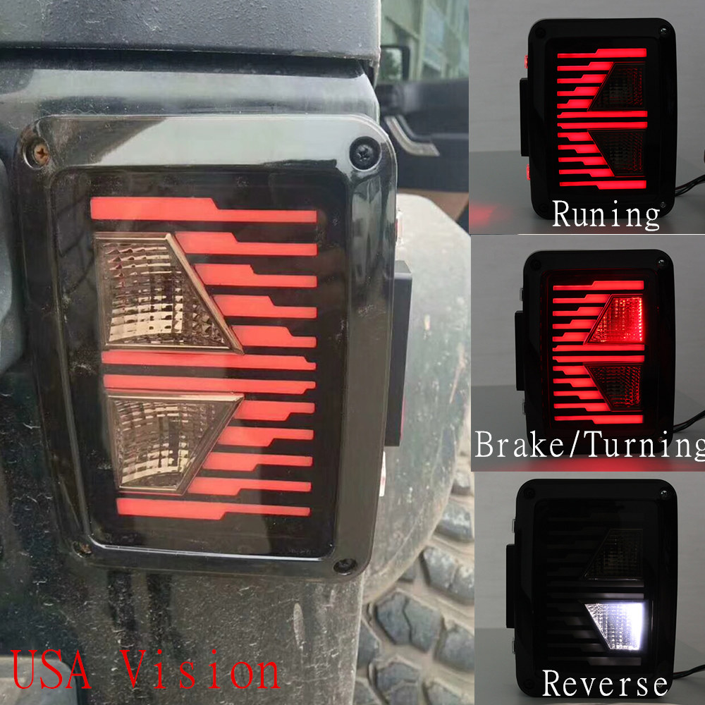For Jeep Wrangler Smoke LED tail Lights Gn7 Series for Jeep Rear Light Brake Reverse light Back UP Lamp for Jeep JK JKU 07-17 car styling tail lights for toyota highlander 2015 led tail lamp rear trunk lamp cover drl signal brake reverse