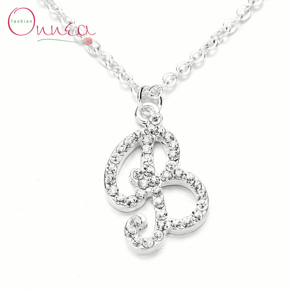 onnea fashion letter b necklace filled with small crystal pendents b alphabet silver plated jewelry for women best friends male in charms from jewelry