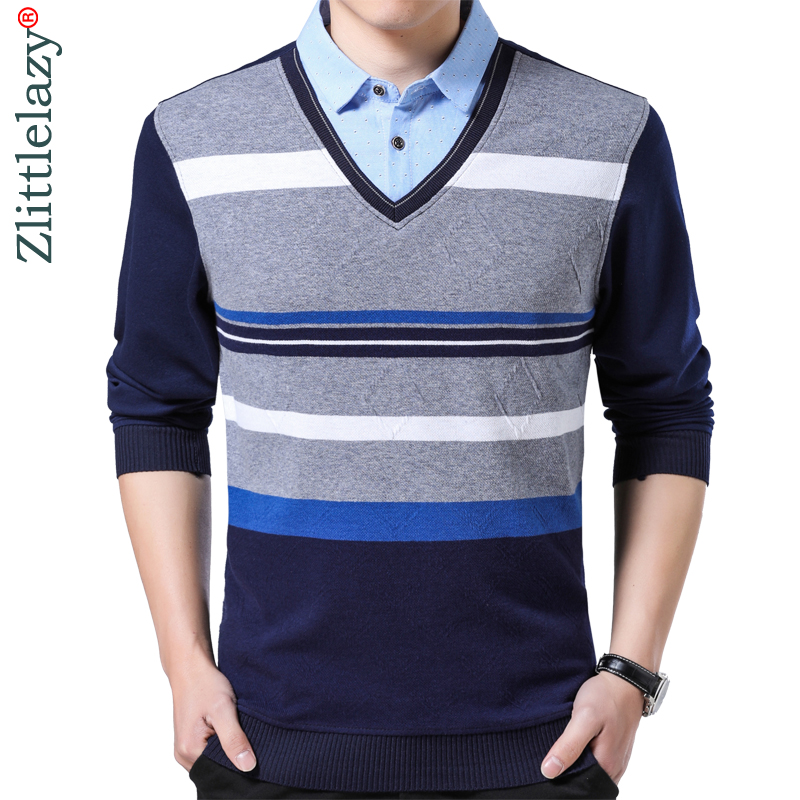 2018 brands striped   polo   shirt men clothes thin fashions long sleeve shirts   polos   mens fake two pieces jersey poloshirt 8122