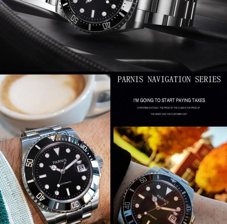 Moda parnis 40mm relógio mecânico automático masculino