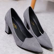 2018 Women Pumps Ankle Strap Thick Heel Women Shoes Square Toe Mid Heels Dress Work Comfortable Ladies Shoes Rough with 7 cm