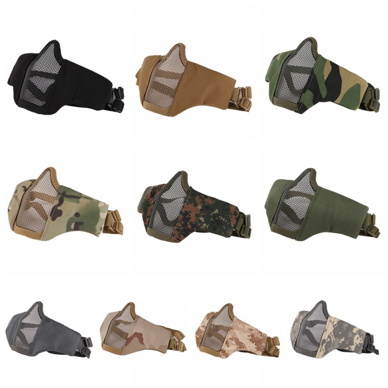 Outdoor Cycling Mask Half Lower Face Metal Steel Net Mesh Mask Hunting Cycling Tactical Protective Half Face Mask