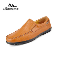 New Design Genuine Leather Shoes Men Loafers Flat Slip On Male Sneakers Leather Moccasins Casual Shoe