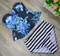 2017 Новый Печати Bikinis Swimsuit Женщин Высокой Талией Купальный Костюм Плюс размер Купальники Поднимите Бикини Установить Урожай Ретро Пляжная Одежда XL