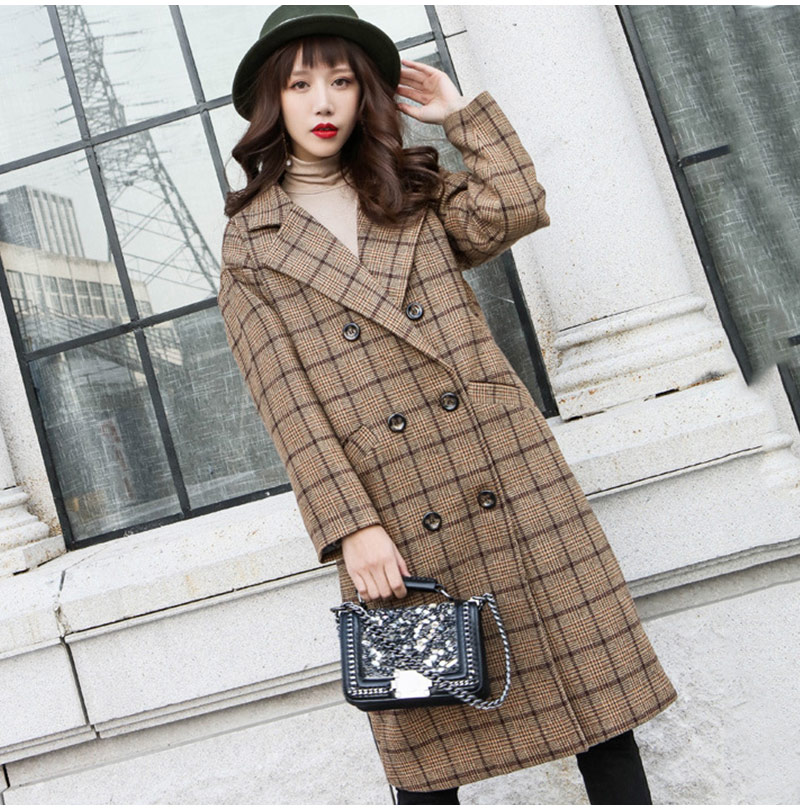Winter Check Velvet Coat Female Notched Warm checkered Woolen Women's Coats Fleece Office Lady 19 Vintage Long Overcoat Woman 5