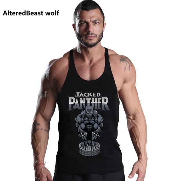 2018 Hot Men Jacked Panther   Tank     Tops   Bodybuilding Men   Tank     Tops   Fitness Men Sleeveless Cotton Vest Workout Stringer Shirts