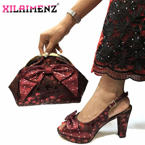 Image 4 - Special Design African Shoes With Matching Bags Set African Womens Party Shoes and Bag Sets Peach Color Women Sandals And Bag