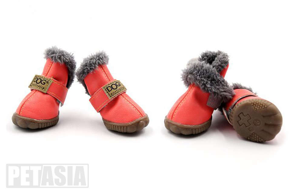 PETASIA Pet Dog Shoes Winter 4pcs set Small Medium Dogs Boots Cotton Waterproof Anti Slip XS XL Shoes for Pet Product ChiHuaHua select_Apricot